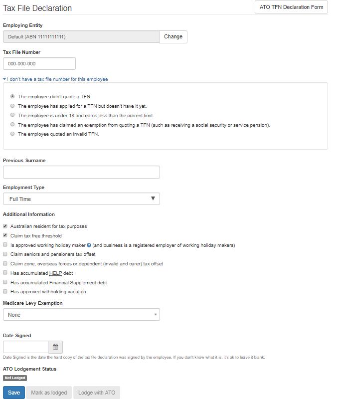 tax file declaration form pdf